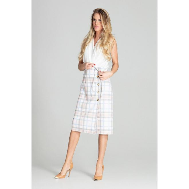 Dámska midi sukňa s ozdobnými gombíkmi a s farebným vzorom