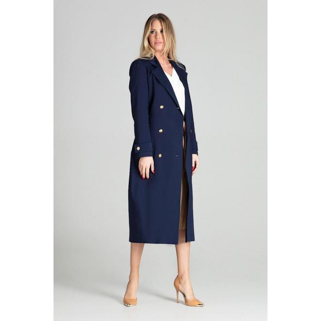 Dlhý dámsky plášť béžovej farby s opaskom