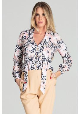 Elegantná dámska blúzka s leopardím vzorom a s ozdobným viazaním