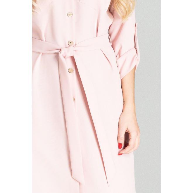 Ružové košeľové šaty s opaskom pre dámy