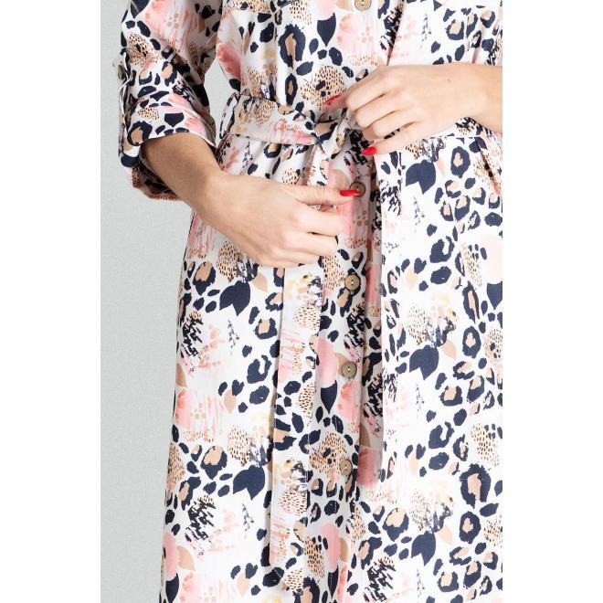 Dámske košeľové šaty s opaskom a s farebným leopardím vzorom