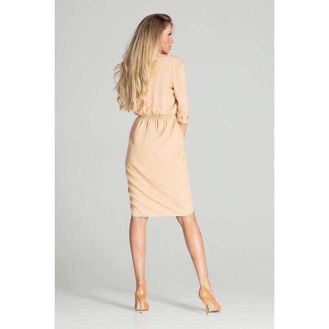 Midi dámske šaty béžovej farby s 3/4 rukávom