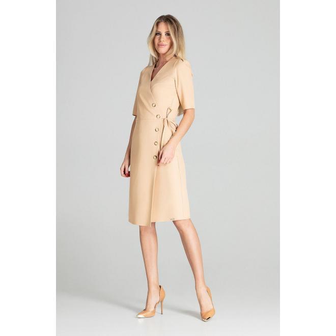 Dámske obálkové šaty s viazaním v páse v béžovej farbe