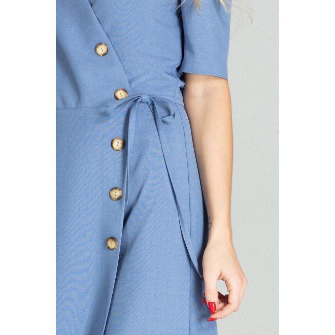 Obálkové dámske šaty modrej farby s viazaním v páse