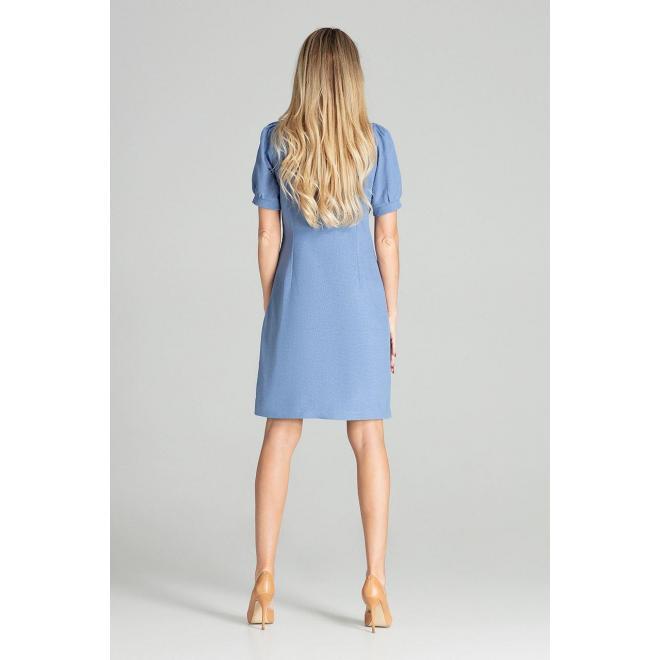 Modré elegantné šaty s nafúknutými rukávmi pre dámy
