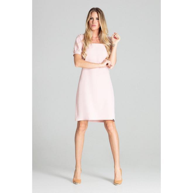 Dámske elegantné šaty s nafúknutými rukávmi v ružovej farbe