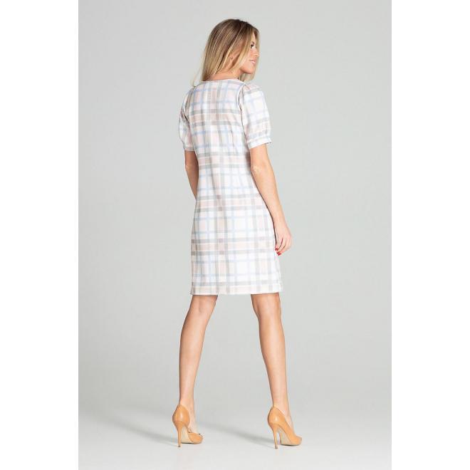 Elegantné dámske šaty s farebným vzorom a s nafúknutými rukávmi