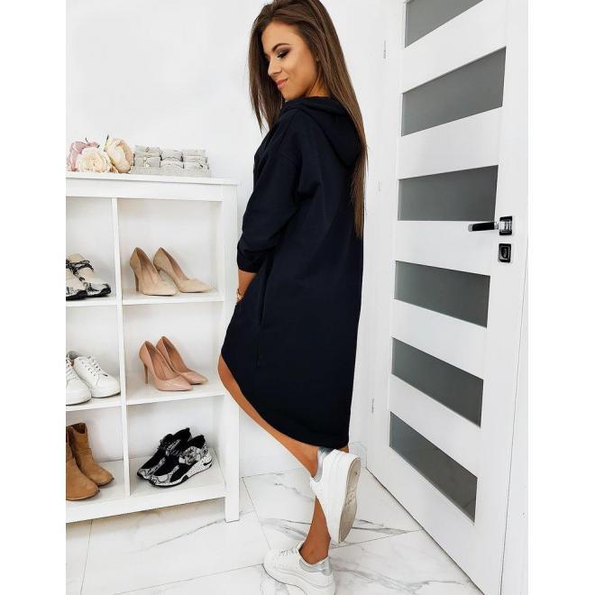 Oversize dámske šaty čiernej farby s kapucňou