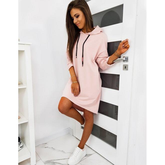 Ružové oversize šaty s kapucňou pre dámy