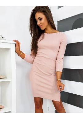 Ružové módne šaty s výrezmi na rukávoch pre dámy