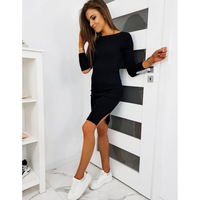 Dámske módne šaty s výrezmi na rukávoch v čiernej farbe