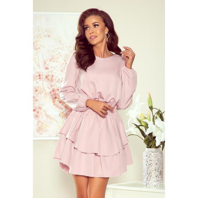 Staroružové elegantné šaty s dvojitou sukňou pre dámy