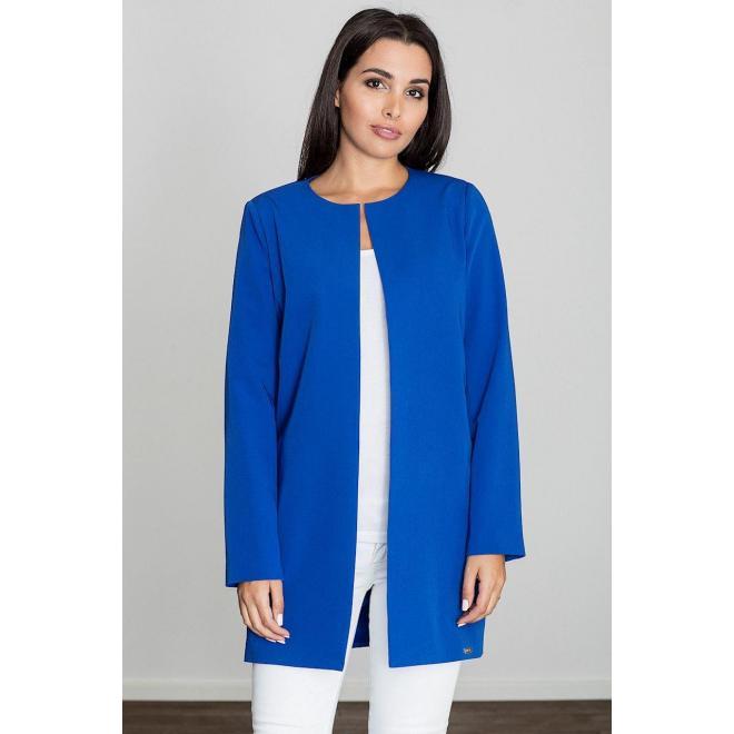 Dámsky elegantný plášť bez zapínania v modrej farbe