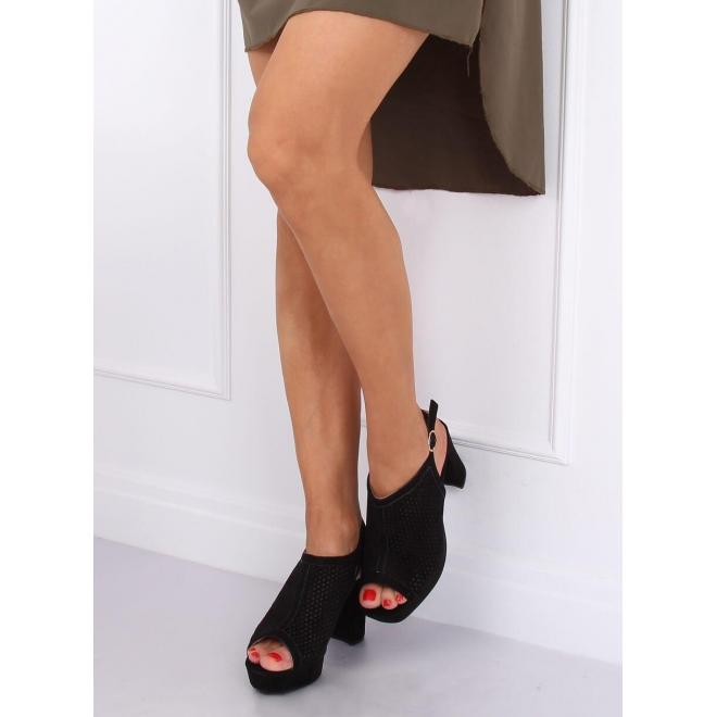 Čierne semišové sandále na podpätku pre dámy