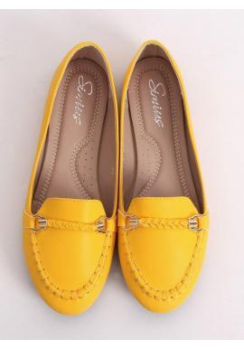 Žlté elegantné mokasíny s ozdobou pre dámy