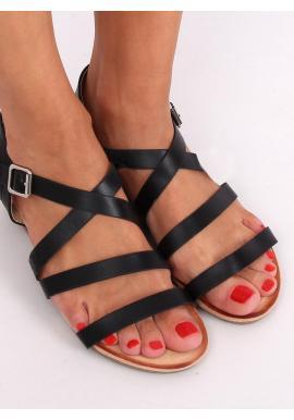 Módne dámske sandále čiernej farby s nízkym klinovým opätkom