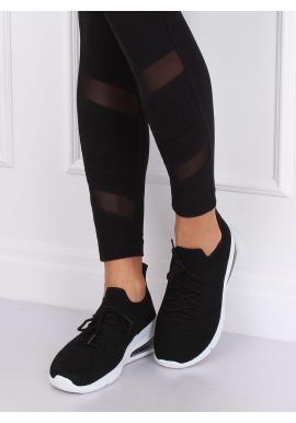Čierne športové tenisky na vysokej podrážke pre dámy