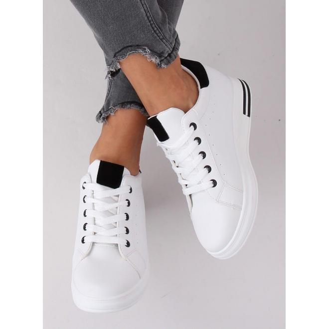 Bielo-čierne módne tenisky na skrytom opätku pre dámy