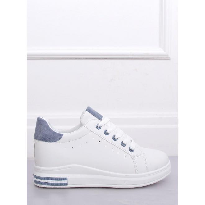 Módne dámske tenisky bielo-modrej farby na skrytom opätku