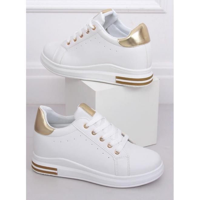 Dámske módne tenisky na skrytom opätku v bielo-zlatej farbe