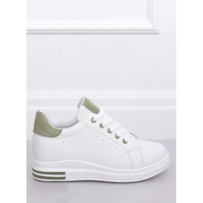 Bielo-zelené módne tenisky na skrytom opätku pre dámy