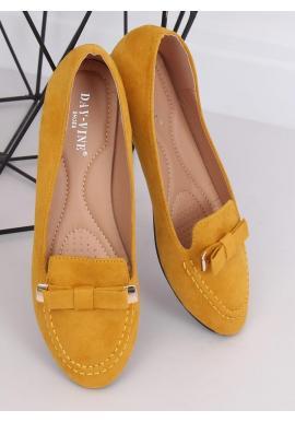 Semišové dámske mokasíny žltej farby s mašľou