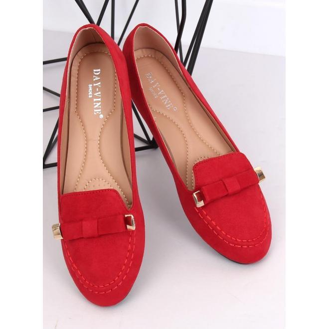 Červené semišové mokasíny s mašľou pre dámy