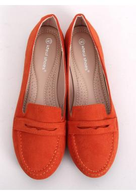 Dámske semišové mokasíny v oranžovej farbe