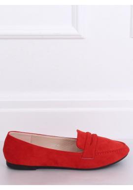 Červené semišové mokasíny pre dámy