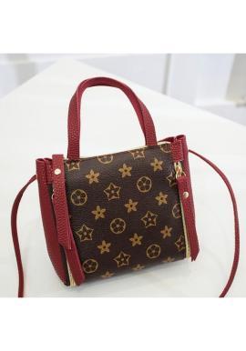 Módna dámska kabelka červenej farby so vzorom