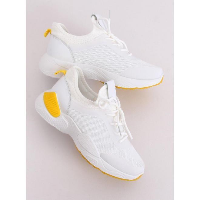 Dámske módne tenisky so žltými prvkami v bielej farbe