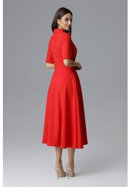 Dvojradové dámske šaty červenej farby s vreckami