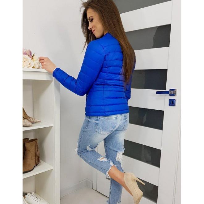 Prešívaná dámska bunda modrej farby bez kapucne