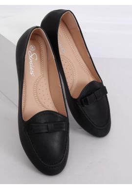 Čierne elegantné mokasíny s mašľou pre dámy