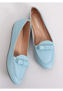 Elegantné dámske mokasíny modrej farby s mašľou
