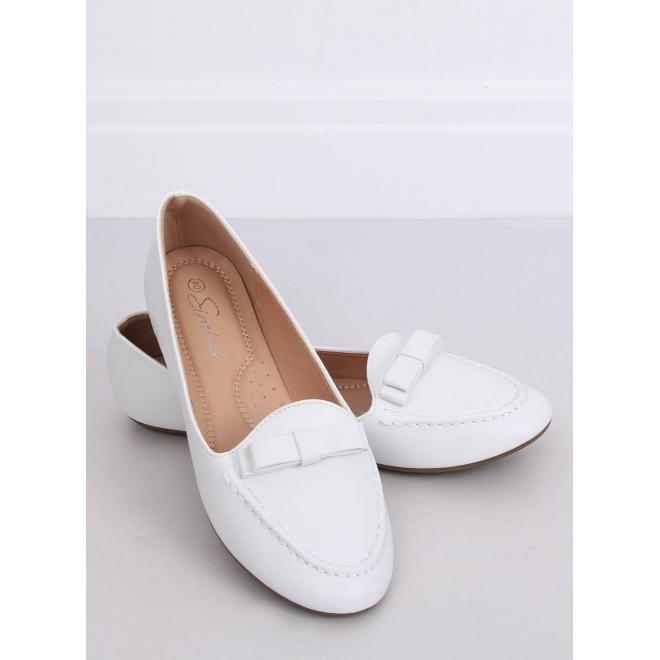 Dámske elegantné mokasíny s mašľou v bielej farbe
