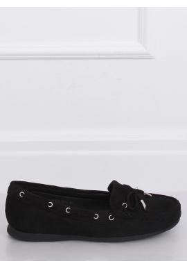 Semišové dámske mokasíny čiernej farby s mašľou