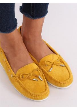 Dámske semišové mokasíny s mašľou v žltej farbe