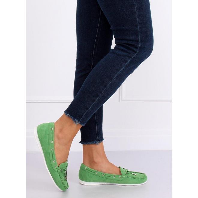 Zelené semišové mokasíny s mašľou pre dámy