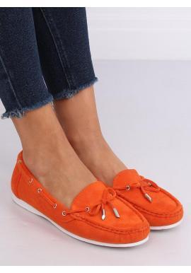 Semišové dámske mokasíny oranžovej farby s mašľou