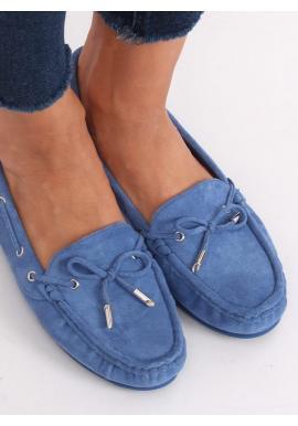 Dámske semišové mokasíny s mašľou v modrej farbe