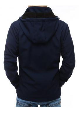 Prechodná pánska bunda tmavomodrej farby s odopínacou kapucňou