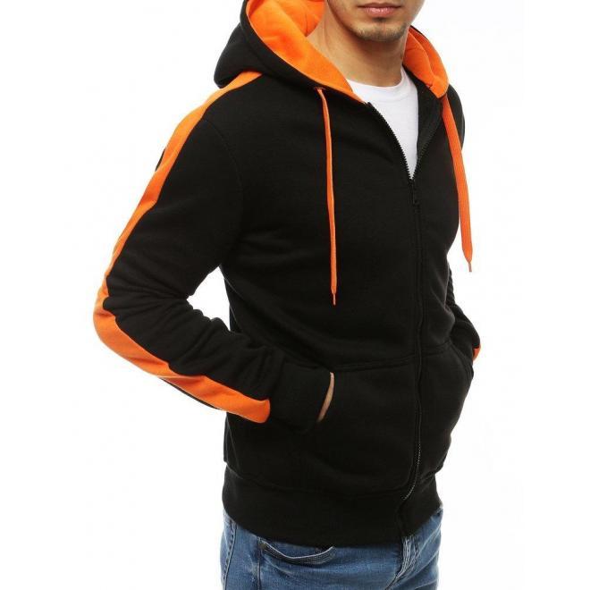 Čierno-oranžová športová mikina s kapucňou pre pánov