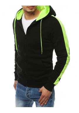Športová pánska mikina čierno-zelenej farby s kapucňou