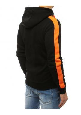 Pánska módna mikina s kapucňou v čierno-oranžovej farbe