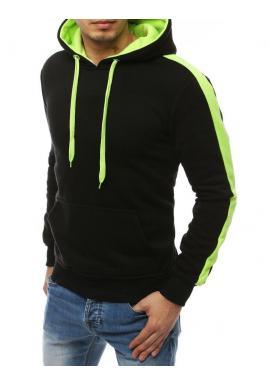 Čierno-zelená módna mikina s kapucňou pre pánov