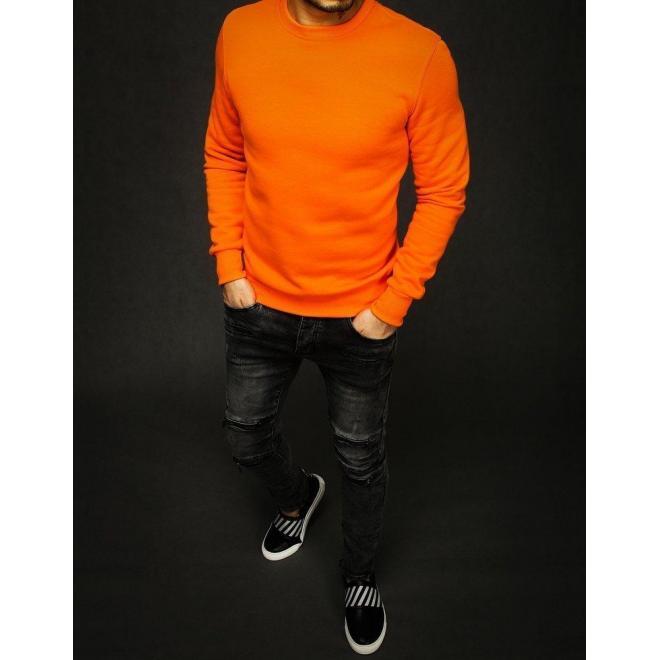 Hladká pánska mikina oranžovej farby bez kapucne