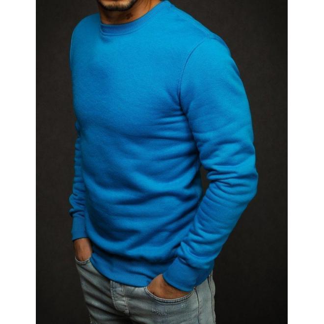 Modrá hladká mikina bez kapucne pre pánov