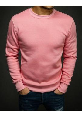 Hladká pánska mikina ružovej farby bez kapucne