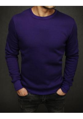 Pánska hladká mikina bez kapucne vo fialovej farbe